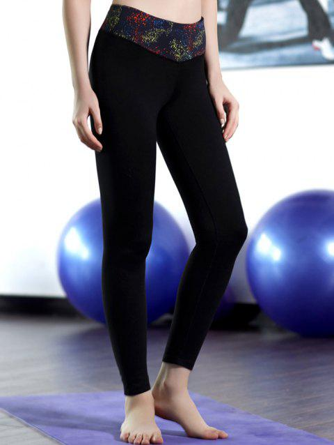 Patched Stretchy Sport Leggings - BLACK M
