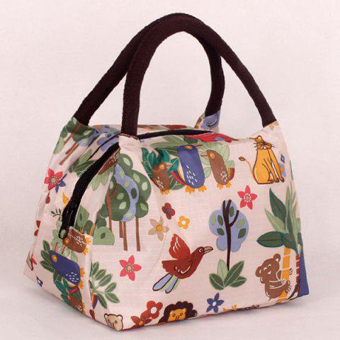 Nylon Color Spliced Animal Prints Tote Bag - OFF WHITE