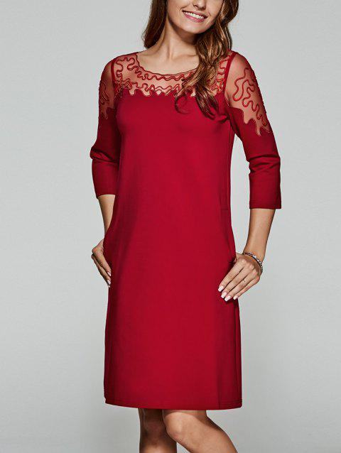 Laciness Patchwork See-Through Dress - Rouge M