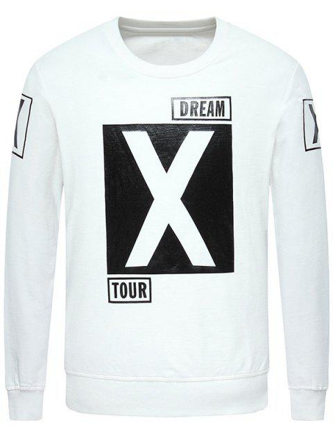 Crew Neck Long Sleeve Graphic Printed Sweatshirt - WHITE L