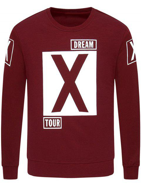 Crew Neck Long Sleeve Graphic Printed Sweatshirt - WINE RED XL