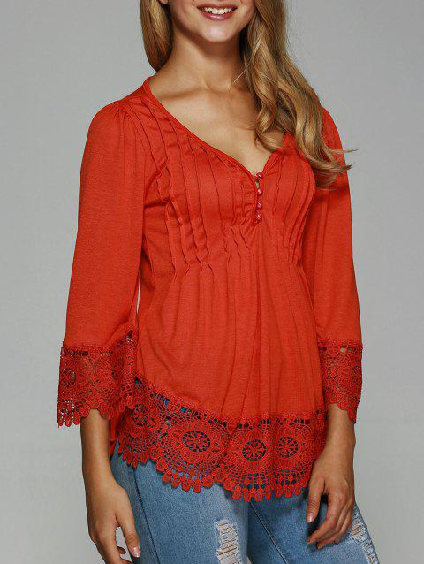 Pleated Lace Splicing Blouse - RED M