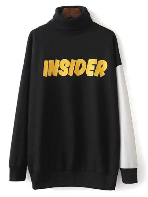 Turtleneck Oversized Graphic Sweatshirt - BLACK S