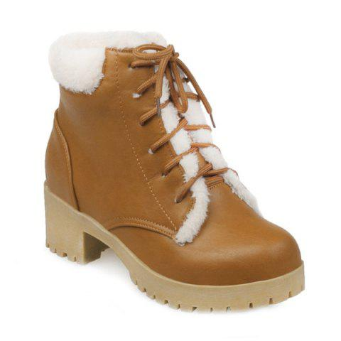 Round Toe Chunky Heel Tie Up Short Boots - BROWN 39