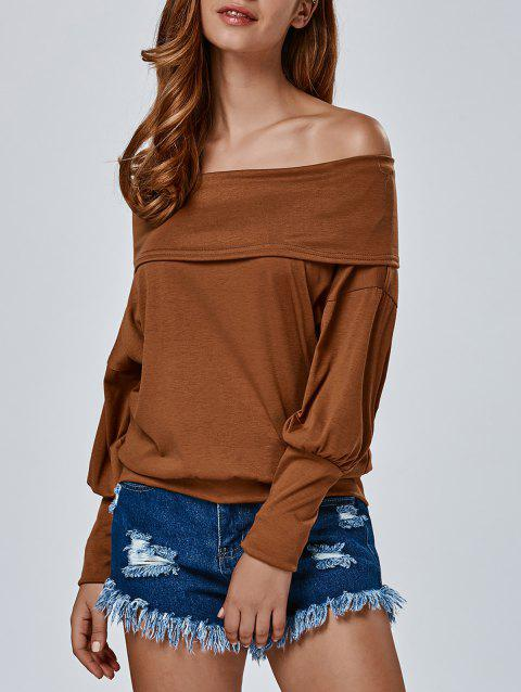 40b8d6bbe57a CUSTOM  2019 Casual Off The Shoulder T Shirt In CHOCOLATE XL ...