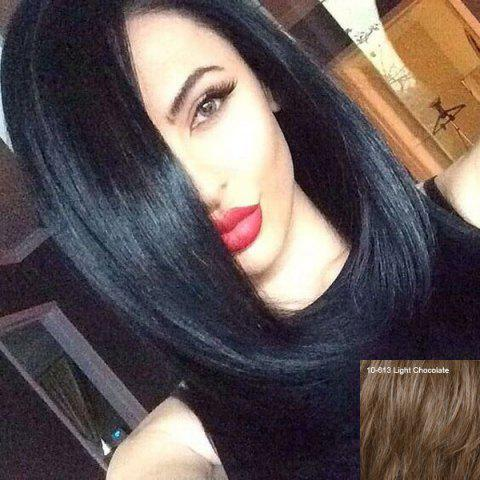 Long Silky Straight Side Parting Lace Front Human Hair Wig - LIGHT CHOCOLATE