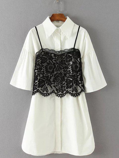 Lace Crop Top et Bell manches Robe chemise Twinset - Blanc XL