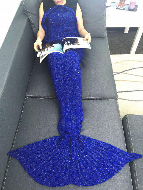Comfortable Acrylic Knitting Mermaid Tail Sofa Blanket - BLUE W31.50INCH*L70.70INCH