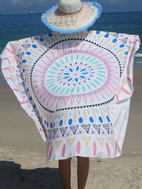 Round Shape Geometrical Print Beach Throw - WHITE ONE SIZE