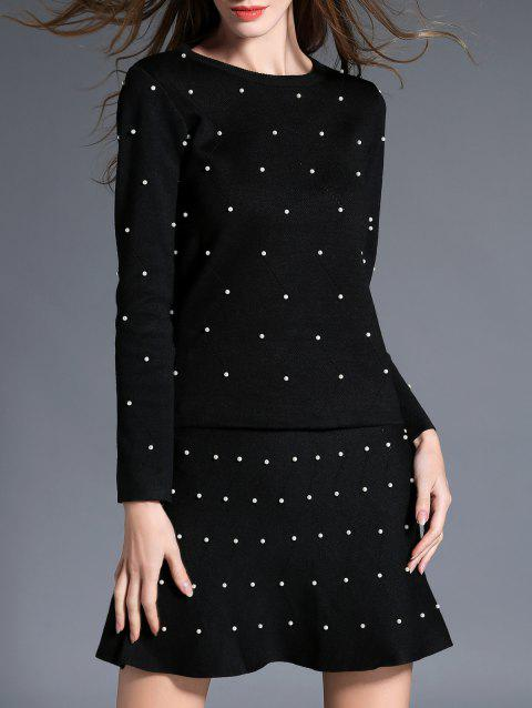 Beading Fitting Knitwear and Bead Mermaid Skirt - BLACK ONE SIZE