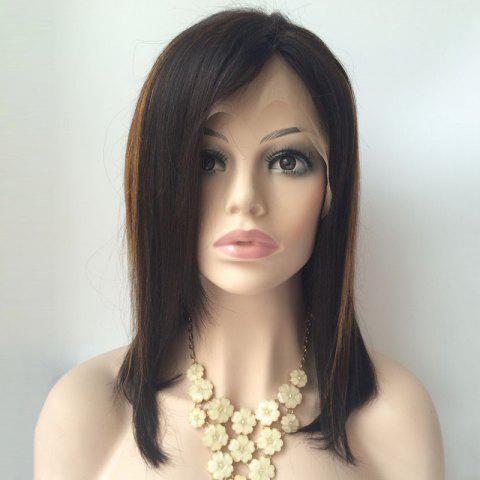 Side Parting Medium Highlight Straight Lace Front Human Hair Wig - COLORMIX