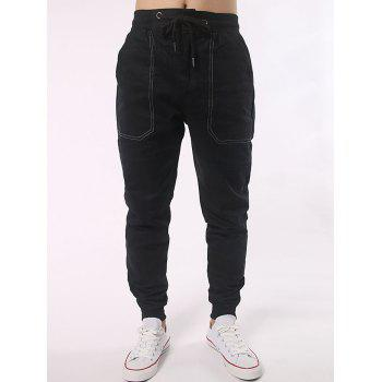 Shirred Waistband Pocket Design Drawstring Jogger Pants