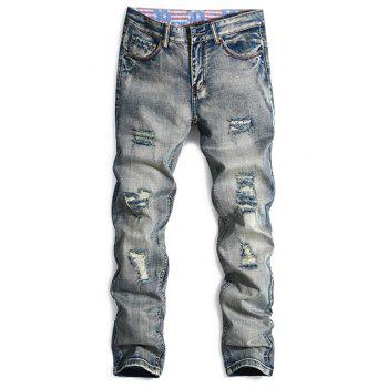 Bleach Wash Holes Zipper Fly Straight Leg Jeans