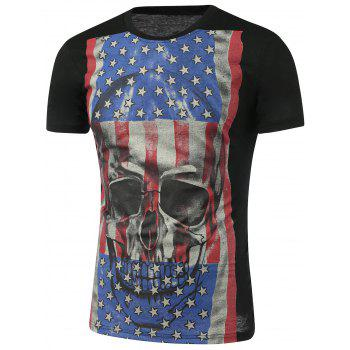 3D Skull Print Distressed American Flag T-Shirt