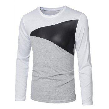 Round Neck Long Sleeve Paneled T-Shirt