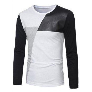 PU Leather Insert Long Sleeve T-Shirt