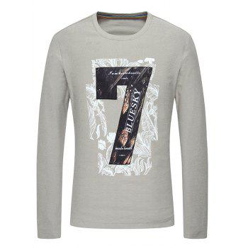 Long Sleeve 3D Number Seven Printed Slimming T-Shirt