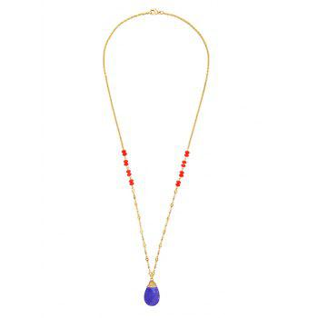 Fake Sapphire Water Drop Pendant Necklace
