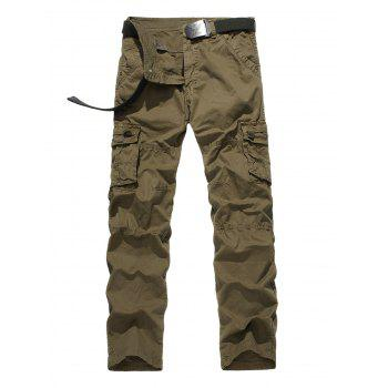 Zipper Fly Straight Leg Plus Size Pockets Design Cargo Pants