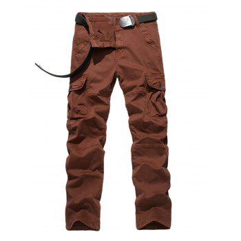 Zipper Fly Straight Leg Plus Size Pockets Embellished Cargo Pants