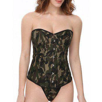 Lace-Up Camouflage Corset With Panties