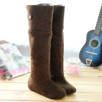 Hidden Wedge Suede Metal Knee High Boots