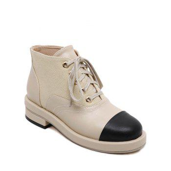 Tie Up Splicing Two-Tone Ankle Boots