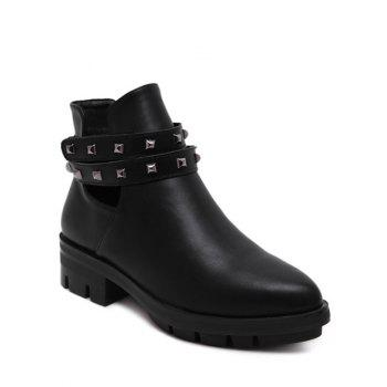 Pointed Toe Zipper Rivets Ankle Boots
