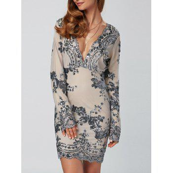 Sequined Embroidery Patched Sheath Dress