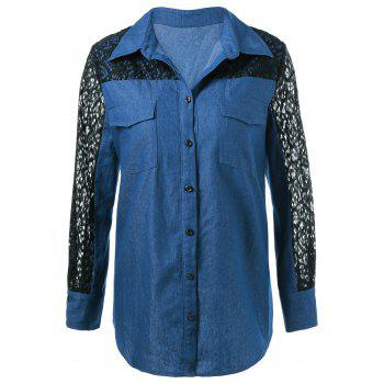 Lace Patchwork Sleeve Flap Pockets Denim Shirt