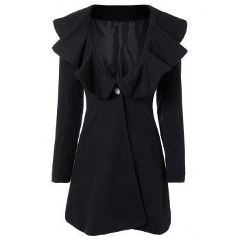 High Waist Flounce Single Breasted Wool Blend Coat
