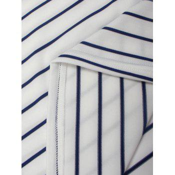 Striped V Neck Patched Long Sleeve T Shirt - XL XL