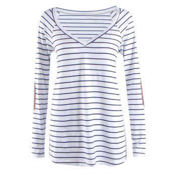 Striped V Neck Patched Long Sleeve T Shirt