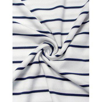 Striped V Neck Patched Long Sleeve T Shirt - M M