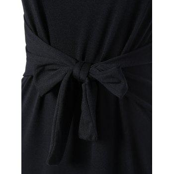 Sans manches Tie-Front uni Slim Dress - Noir S
