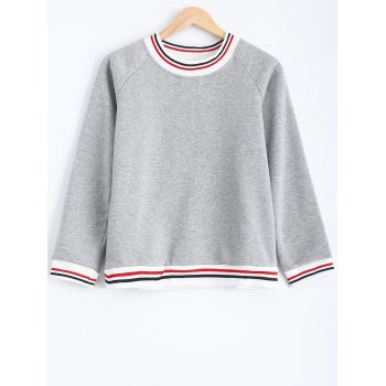 Striped Flocking Loose-Fitting Sweatshirt - GRAY GRAY