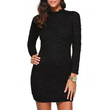 Mock Neck Long Sleeve Lace Short Dress