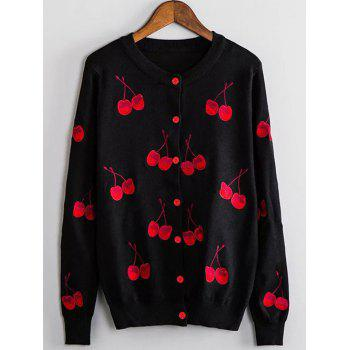 Cherry Embroidered Buttoned Cute Plus Size Cardigan