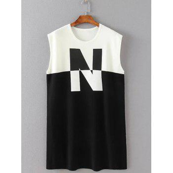 N Print Patchwork Tank Dress