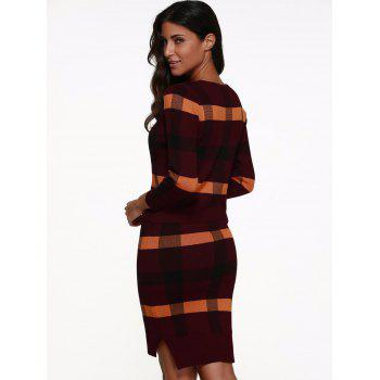 Knitted Plaid Two Piece Dress - RED RED