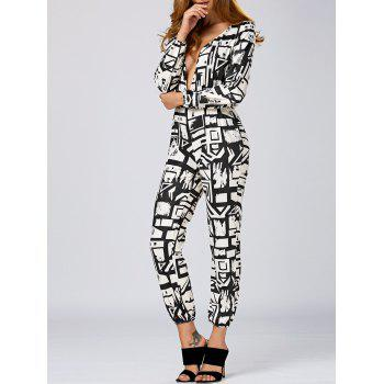 Plunging Neck Geometric Print Jumpsuit