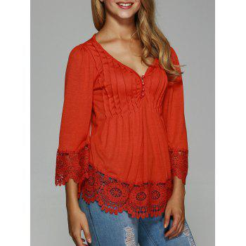 Pleated Lace Splicing Blouse