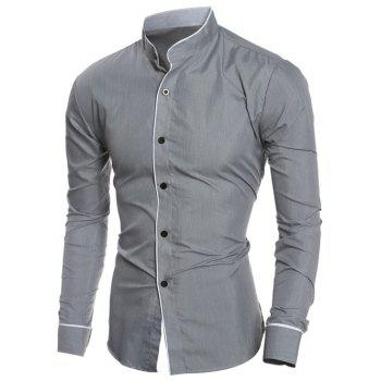 Long Sleeve Edging Grandad Collar Shirt