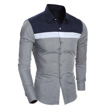 Turn-Down Collar Color Block Spliced Design Shirt
