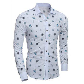 Turn-Down Collar Anchor Stars Print Shirt