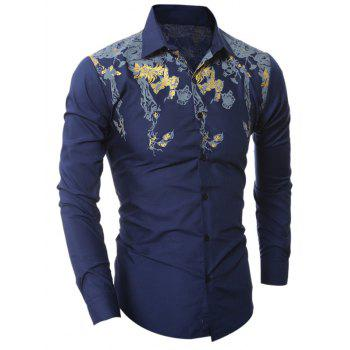 Turn-Down Collar Golden Floral Pattern Design Shirt