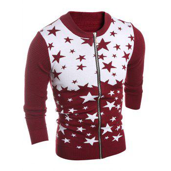 Zip-Up Color Block Star Pattern Cardigan