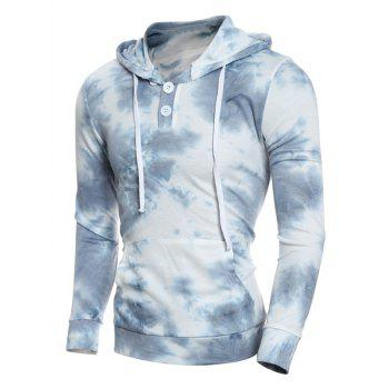 Hooded Button Embellished Ombre Bandhnu Hoodie