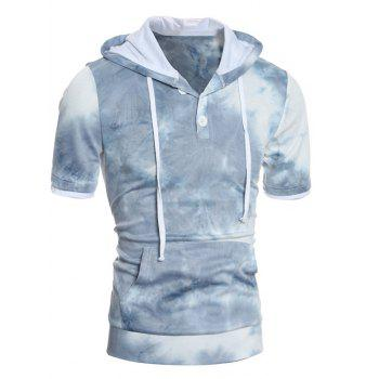 Hooded Button Embellished Ombre Short Sleeve Hoodie
