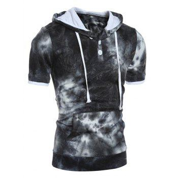 Buy Hooded Button Embellished Ombre Short Sleeve Hoodie BLACK